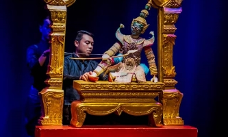 Thai traditional puppet moving